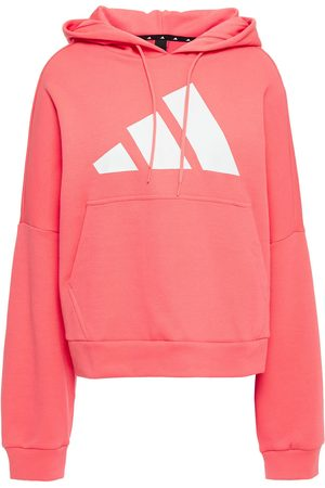 adidas Woman Printed Cotton-blend Jersey Hoodie Coral Size 30