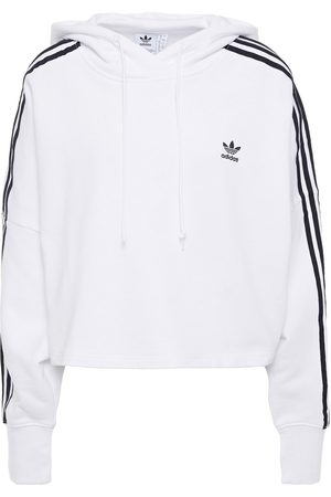 adidas Woman Cropped Embroidered French Cotton-terry Hoodie Size 38