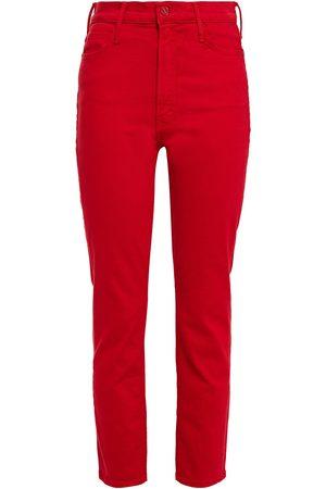 Mother Women Slim - Woman The Dazzler Cropped High-rise Slim-leg Jeans Crimson Size 25