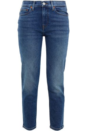 RE/DONE Women Slim - Woman Cropped Mid-rise Slim-leg Jeans Mid Denim Size 25