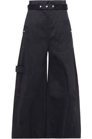 Reebok Woman Belted Cotton-twill Wide-leg Pants Midnight Size 32