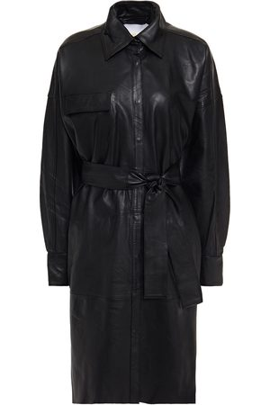 REMAIN Birger Christensen Woman Belted Leather Shirt Dress Size 32