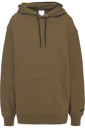 Reebok Woman Embroidered French Cotton-terry Hoodie Army Size S