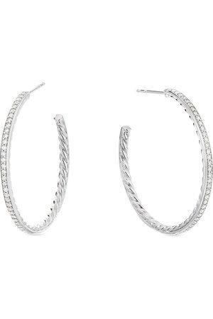 David Yurman Women Earrings - Sterling medium Pavé diamond hoop earrings