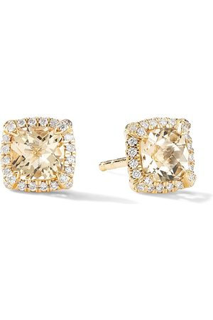 David Yurman 18kt yellow petite Chatelaine pavé diamond and citrine stud earrings