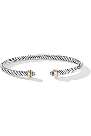 David Yurman Sterling 4mm Cable amethyst and 18kt yellow gold cuff