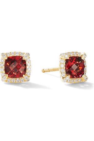 David Yurman 18kt yellow gold Chatelaine garnet and diamond stud earrings