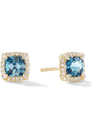 David Yurman 18kt yellow gold petite Chatelaine pavé diamond and topaz stud earrings