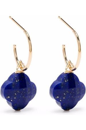 MORGANNE BELLO 18kt yellow Clover stone lapis lazuli hoop earrings