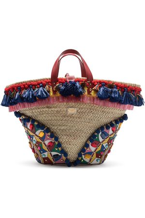 Dolce & Gabbana Kendra embellished tassel trim tote bag - Neutrals