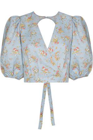 Reformation Floral-print wraparound blouse