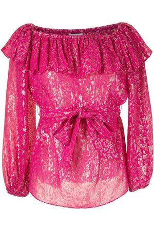 Rebecca Vallance Valencia metallic animal-print blouse