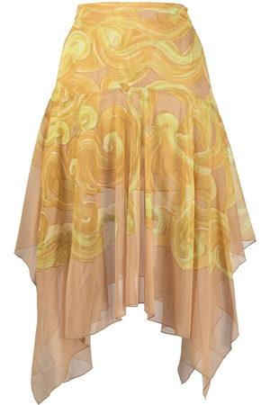 KNWLS Women Midi Skirts - Halcyon-print asymmetric midi skirt