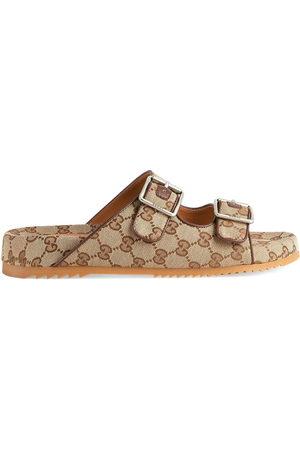 Gucci GG Supreme-print mule sandals - Neutrals