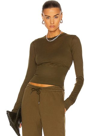 WARDROBE.NYC Fitted Crop Long Sleeve Tee in Military
