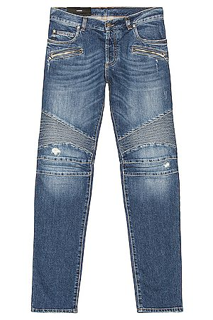 BALMAIN Ribbed Tapered Jeans in
