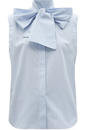 Another Tomorrow Women Tops - Pussy-bow Striped Organic-cotton Poplin Top - Womens