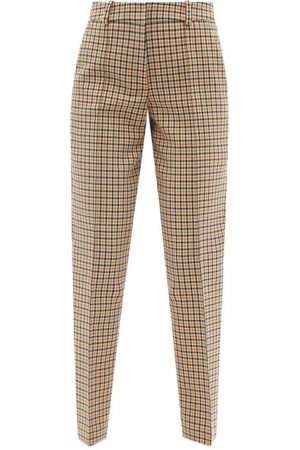 Another Tomorrow Checked Organic-cotton Blend Tapered-leg Trousers - Womens - Tan