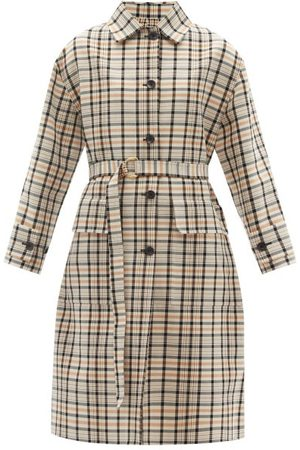 Another Tomorrow Reversible Checked Organic-cotton Trench Coat - Womens - Tan