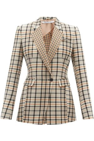 Another Tomorrow Single-breasted Checked Cotton-blend Twill Jacket - Womens - Tan