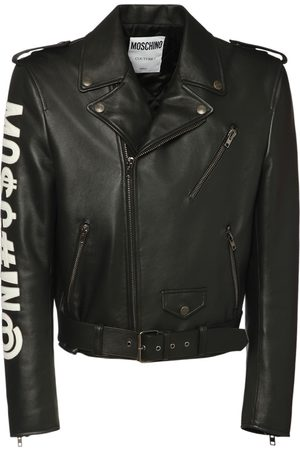 Moschino Men Leather Jackets - Faux Leather Biker Jacket