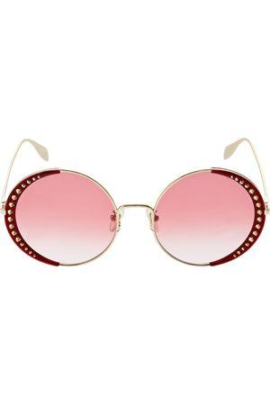 ALEXANDER MCQUEEN Round Metal Sunglasses W/ Studs