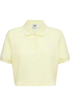 adidas Women Polo Shirts - Cropped Cotton Blend Polo