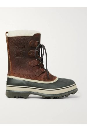 sorel Men Snow Boots - Caribou Faux Shearling-Trimmed Waterproof Nubuck and Rubber Snow Boots