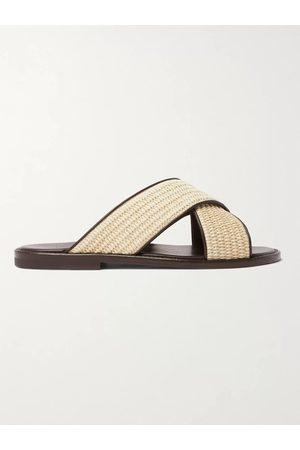 Manolo Blahnik Otawi Woven Raffia and Leather Sandals