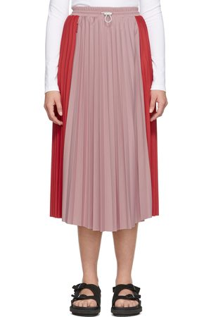 Moncler Women Pleated Skirts - Red & Pink Bicolor Pleated Skirt