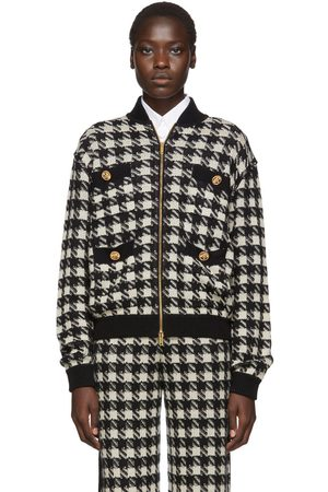 Gucci Black & Off-White Short Houndstooth Bomber