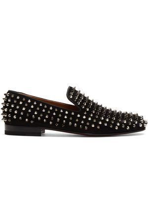 Christian Louboutin Black Suede Rollerboy Spikes Loafers