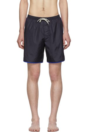 Gucci Men Swim Shorts - Navy Logo Stripe Swim Shorts