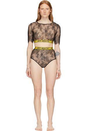 OFF-WHITE SSENSE Exclusive Black & Yellow Lace Two-Piece Bodysuit