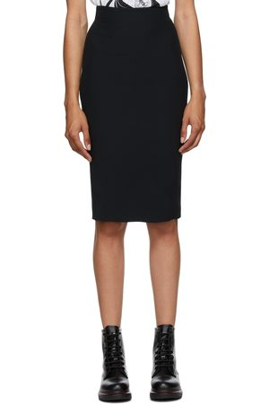 Alexander McQueen Black Crepe Pencil Skirt