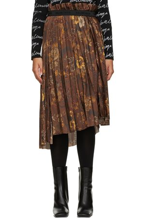 Balenciaga Brown Floral Pleated Skirt