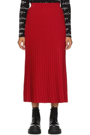 Balenciaga Red Pleated Elasticized Waist Skirt