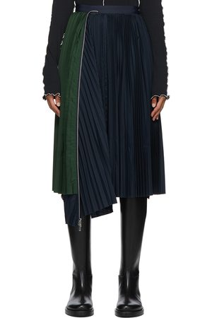 SACAI Women Pleated Skirts - Black & Navy Pleated Skirt