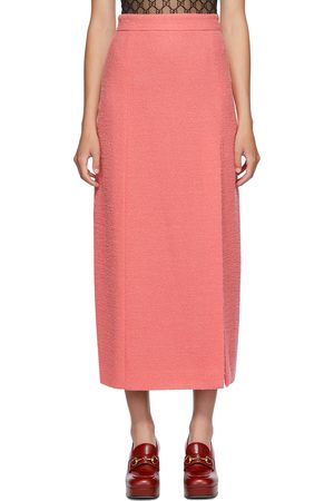 Gucci Pink Wool Tweed Midi Skirt