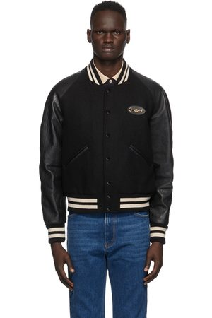 Gucci Black Felt & Leather Bomber Jacket