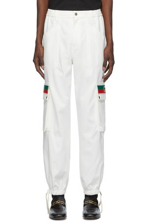 Gucci Men Cargo Trousers - Off-White Canvas Cargo Pants