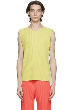 HOMME PLISSÉ ISSEY MIYAKE Yellow & Off-White Pleated Quartet Tank Top