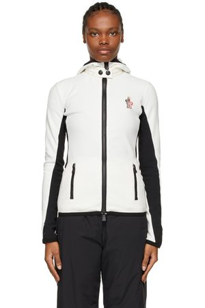 Moncler White & Black Hooded Cardigan Jacket