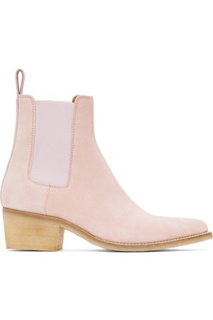 AMIRI Pink Suede Pointy Toe Chelsea Boots