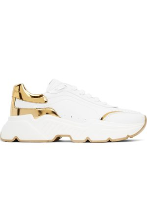 Dolce & Gabbana White & Gold Daymaster Low Sneakers