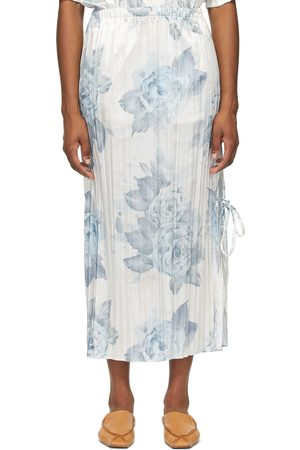 Acne Studios White & Blue Satin Pleated Floral Skirt