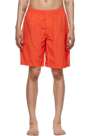 Y-3 Men Swim Shorts - Red Mid-Length Logo Swim Shorts