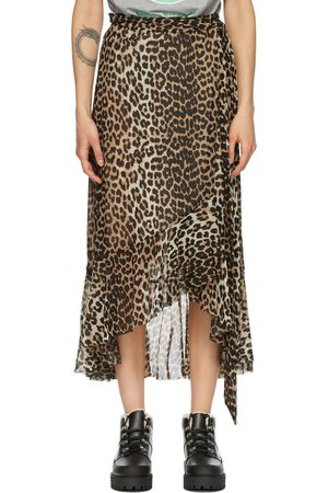 Ganni Brown & Black Mesh Printed Wrap Skirt
