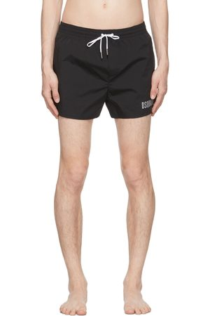 Dsquared2 Men Swim Shorts - Black & Silver 'Icon' Swim Shorts