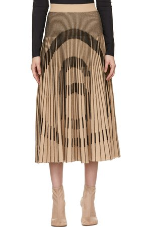 MM6 MAISON MARGIELA Beige Pleated Logo Skirt